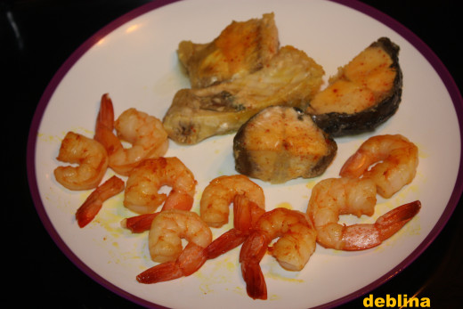 Boiled Rohu and lightly sauteed Prawns