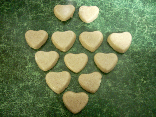 Completed Coconut Butter Valentine Hearts Candies With Cinnamon