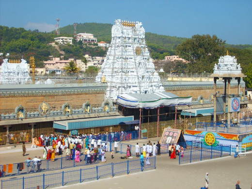 The Entrance To The Vishnu Temple At Tirupati.