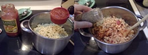 Step Four: Add your pasta sauce; I ended up adding just about the whole bottle, Step Five: Add your oregano