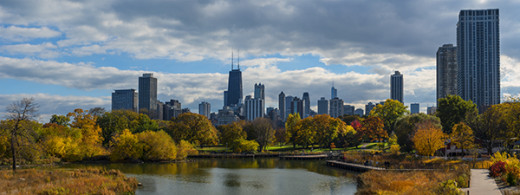 Chicago, Illinois  Lincoln Park with skyline view