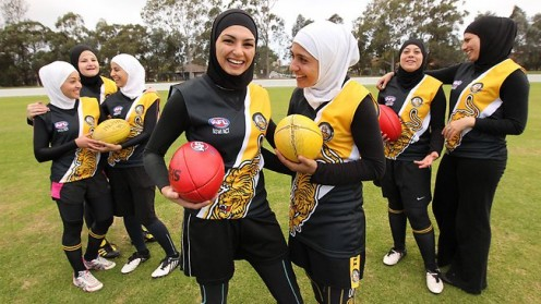 Players from the Auburn Tigers women's football team, which is predominantly Muslim. Picture: James Croucher