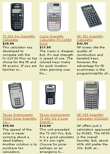 The best of the NCEES approved calculators. The CBT exam computer has an on-screen calculator. But, a hand held is easier to use and you won't have to look up from the reusable paper during your calculations.