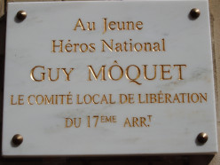 Plaque to the memory of Guy Môquet at 34, rue Baron, Paris