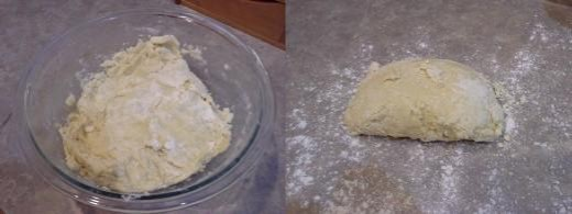 Step Six: Mix well. I promise you'll end up using your hands, Step Seven: When mixed as well as possible, dump it our onto a floured surface Step Seven: When mixed as well as possible, dump it our onto a floured surface