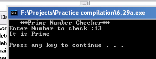 Screenshot of program used to check if a number is prime or not.