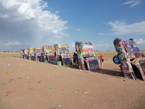 The extremely colorful Cadillac Ranch in Texas