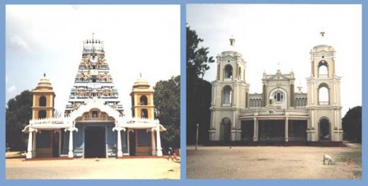 A Hindu Temle and a Church in Jaffna. Note the Bell Towers in both the buildings.