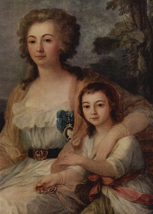 Countess Anna Protassowa with Niece was painted in 1788 by Maria Anna Angelika Kauffmann (1741-1807).