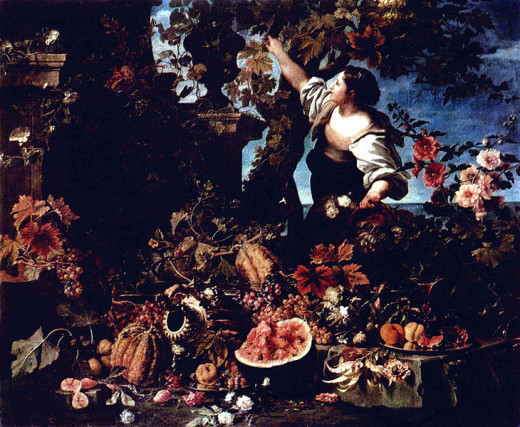 Flowers and Fruit was painted in 1689 by Christian Berentz (1658-1722).