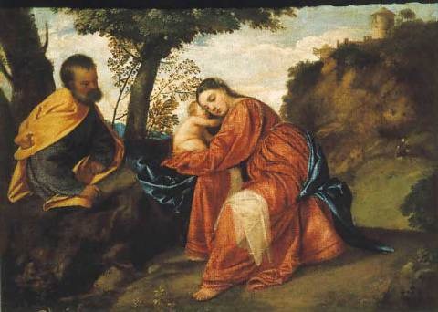 Flight into Egypt was painted by Titian circa 1512. This photograph of the painting was taken in April 2011—after the 1997 restoration of the painting,