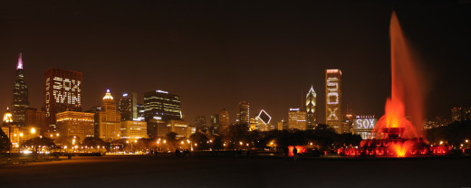 Chicago White Sox in skyline lights after winning the World Series