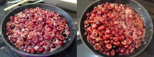 Step Seven: Cook your cherries over medium heat with your sugar, water and cornstarch until thickened, See all the natural cherry juices coming out as the cherries cook?