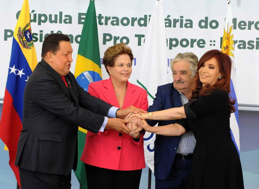 (Left to right) Presidents Hugo Chavez (Venezuela), Dilma Rousseff (Brazil), Jose Mujica (Uruguay), Cristina Kirchner (Argentina)