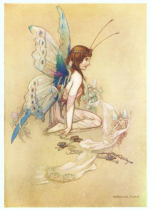"""An Illustration from the 'Water babies"""" by Warwick Goble . Wikicommons Public domain"""