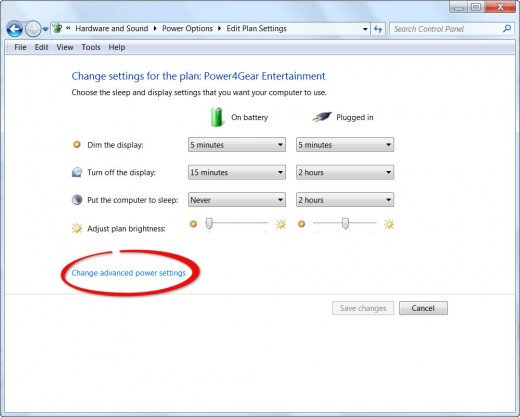 Step 3 - Change Advanced Power Settings