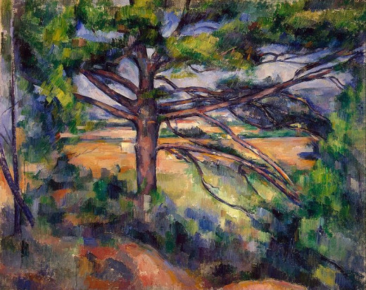 Paul Cézanne (1839-1906) painted Large Pine with Red Fields circa 1895.