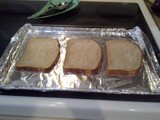 Step Two: Lay your bread out to be prepared; I can usually lay out at least 6 pieces at once