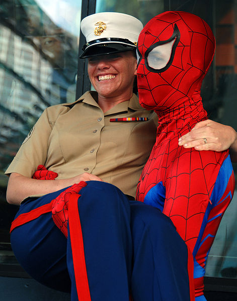 File: US Navy 070523-N-8923M-390 Cpl. Candace Mattox smiles as she poses with Spider-man on the streets in downtown Manhattan.jpg  23 May 2007 US Navy photo by Seamon T. Murray, Jr.