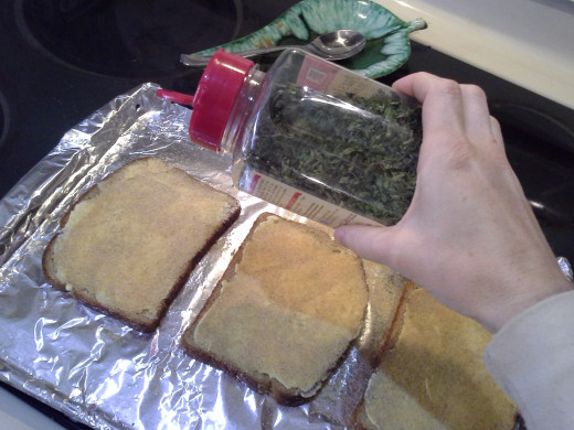 Step Five: Now spread parsley onto each piece