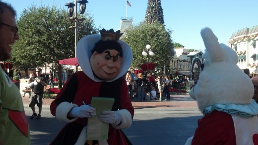 The Queen of Hearts and the White Rabbit on Main Street At Disneyland