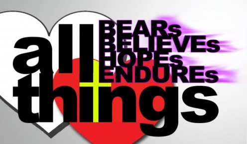 "Image of clipart, ""Love bears all things"""
