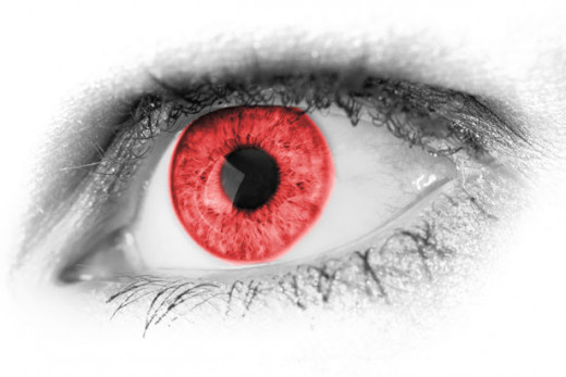 Petr Kratochvil/ Red eye represents seeing red/ anger.