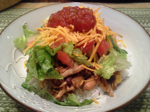 Chicken Crockpot Taco Bowls