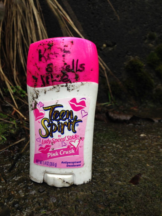 We even found a Teen Spirit Deodorant in the mud!