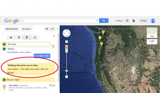 "Screenshot of how the trick works when you look for walking directions in Google Maps from 'The shire"" to ""Mordor"""