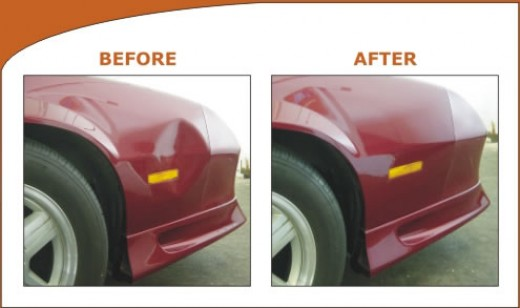 Before and after image of a dent repair.