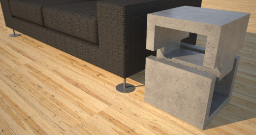 Contemporary Concrete Coffee Table  Accent Table