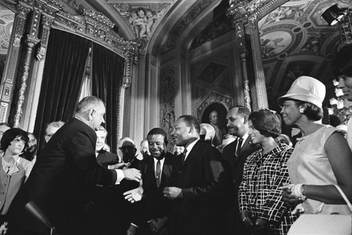 Lyndon Baines Johnson meets with Martin Luther King Jr..  Taken August 6, 1965, also by By Yoichi R. Okamoto [Public domain], via Wikimedia Commons