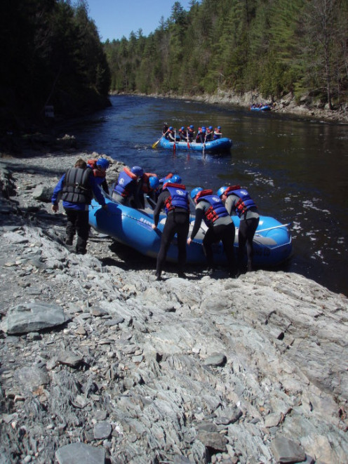 After sliding your raft down the stairs, you will lower it into the river. At this time, instructors repeat safety precautions and command signals. 2010