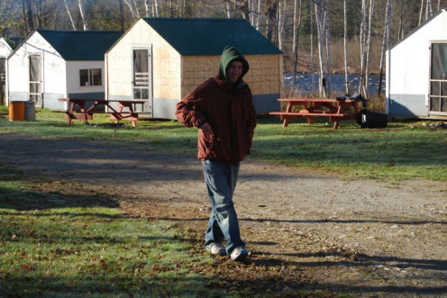 Me taking a stroll up to the headquarters on a chilly morning. You can see the river in the background. 2010