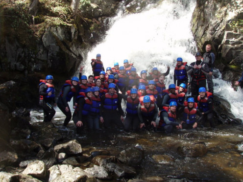 Group photograph under the waterfall. 2010