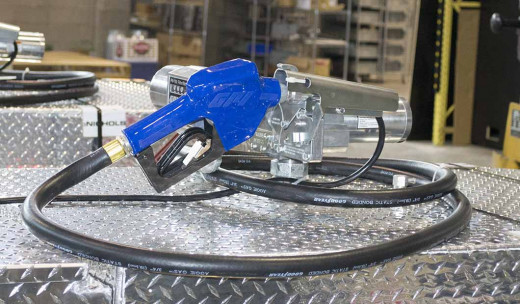 Here is an up close look of a gas trailer's fuel nozzle. It's the same type you would find at a gas station.