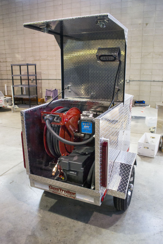 Pictured here is the Pro 110 Industrial FTS fuel trailer. It comes with an aviation rated fuel pump along with a fuel transfer system.