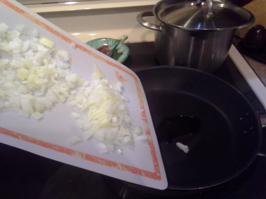 Step Nine: When heated, add your chopped onions