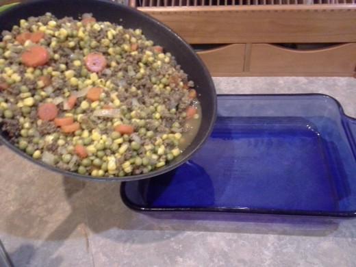Twenty-seven: Pour your hamburger mixture into a prepared casserole dish