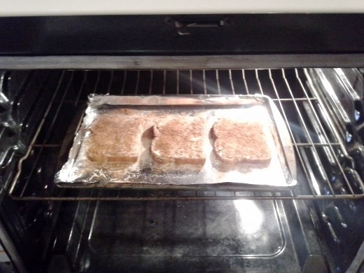 Step Six: Pop your toast in the oven and broil on low for 10 minutes
