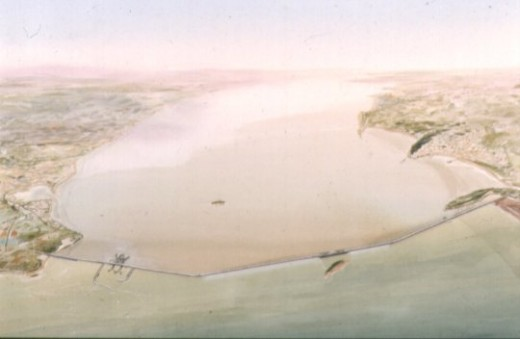 What the Brean Down to Lavernock Point barrage would look like from the air.  Note the barrage does not connect to Brean Down itself.