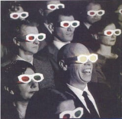 Who invented 3-D movie glasses/viewers?