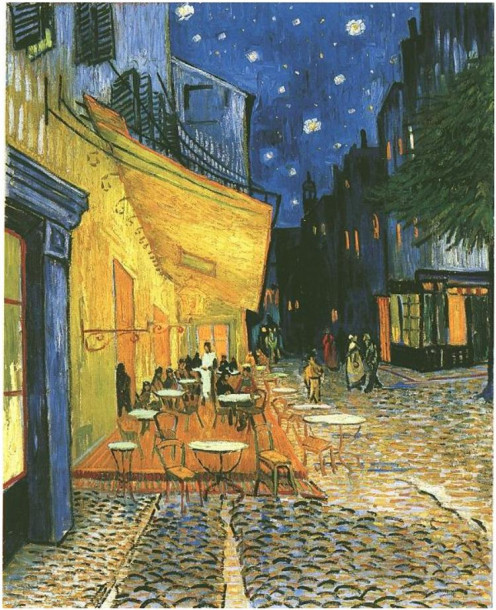Cafe terrace on the  Place du Forum, Arles, at Night.