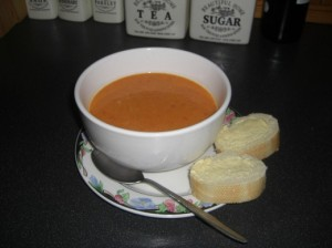 A bowl of the finished soup