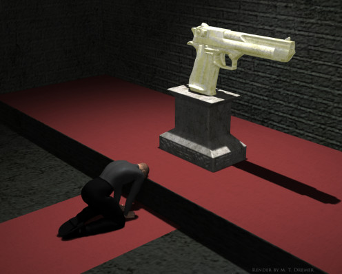 A dramatization of a 'gun church'.