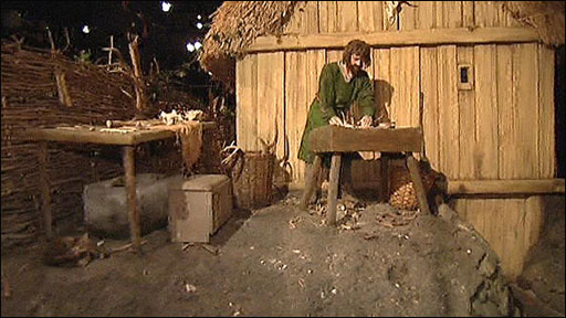 Craftsman outside his workshop in Jorvik - this would be a selling point. In showing how quality goods were made instilled confidence in prospective customers