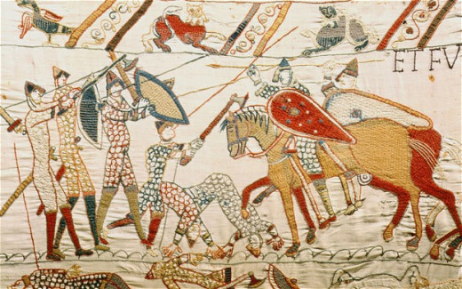 Bayeux scene shows Norman cavalry closing on Harold's huscarls in the shieldwall - blood and gore on the hillside gave rise to the Norman name 'Sanguelac' - 'Lake of Blood'