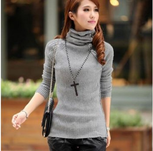 Finejo Women's Elastic Medium-Long Turtleneck Wool Sweaters Available at Amazon
