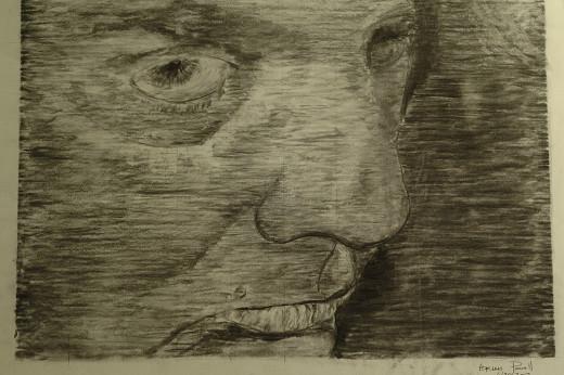 Self Portrait - Charcoal on paper